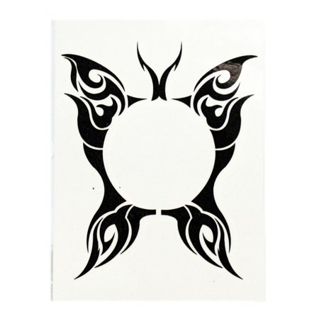 Elegant Butterfly With Central Void Temporary Tribal Tattoo