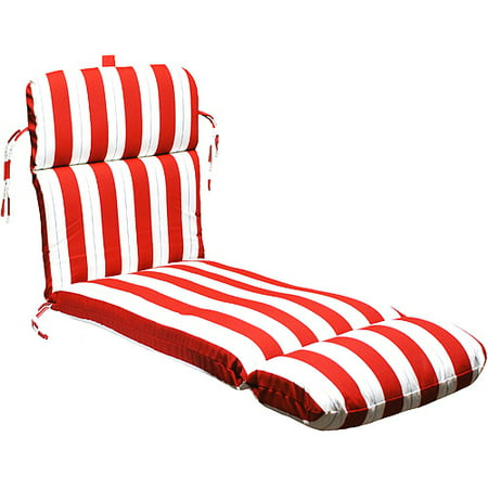 Universal outdoor chaise lounge cushion red white and for Blue and white striped chaise lounge cushions