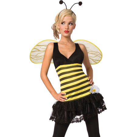 Fun and Sassy Womens 3 Piece Bumble Bee Costume with Wings Antennae Headband (Bee Wings Costume)
