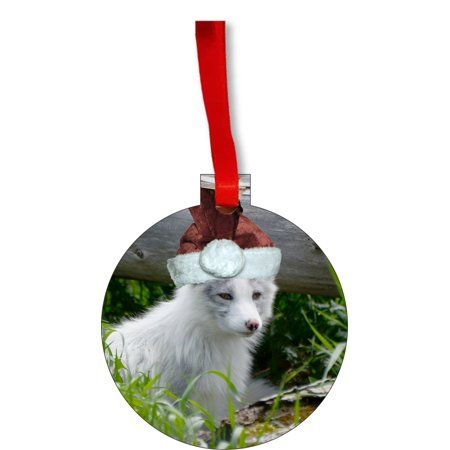 Cubs Christmas Ornament (White Fox Cub Wildlife Wearing a Santa Claus Hat Round Shaped Flat Hardboard Christmas Ornament Tree Decoration - Unique Modern Novelty Tree Décor Favors)