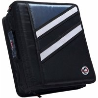 Case It Dual Ring Zipper Binder, Z-shaped, Black, 3 inch, Z-176