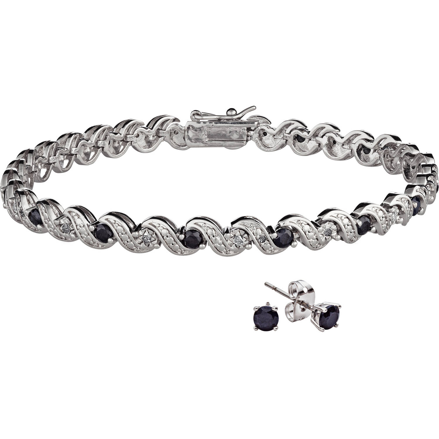 Rhodium Plated Diamond Accent & Sapphire Bracelet 7in with Earring by Generic