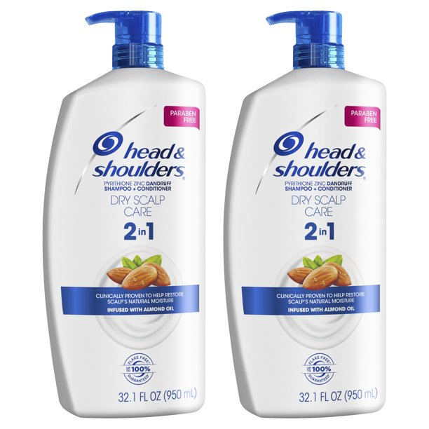 Head and Shoulders 2 in 1 Shampoo Conditioner, Dry Scalp, 32.1 oz, 2 pack