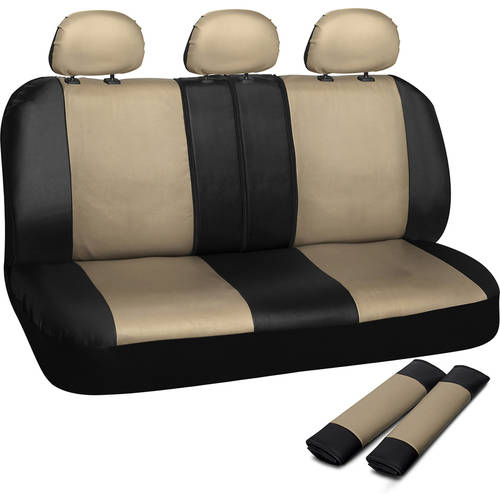 OxGord Faux Leather Rear Bench Seat Covers Universal Fit for Car Truck SUV Van, 50/50, 60/40, or 40/20/40 Split with Headrest Covers