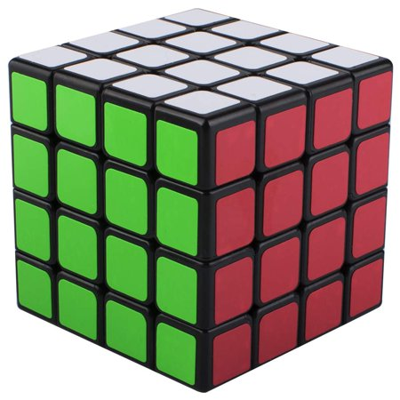 FeelGlad 4x4 Stickerless Speed Rubik Cube, Black Base Magic Rubik 6 Color Puzzles Educational Special Toys Brain Teaser Gift Box, Develop Brain Logic Thinking