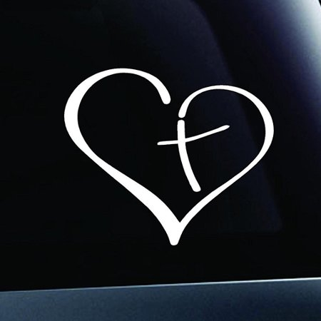 Truck Decals Graphics - Cross Heart Christian Vinyl Cut Decals With No Background (TWO PACK) | 2-3.5 Inch White Decals | Car Truck Van Wall Laptop Cup