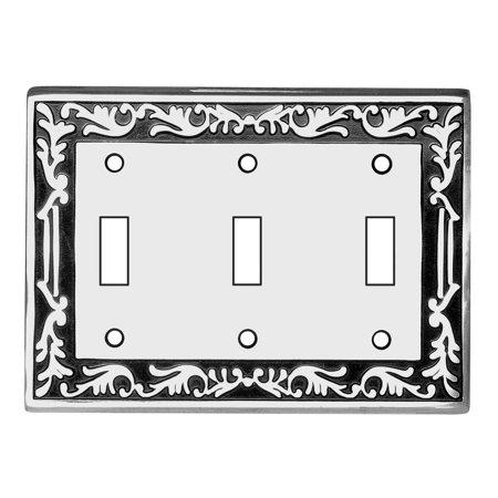 - Victorian Switch Plate Triple Toggle Chrome Solid Brass | Renovators Supply