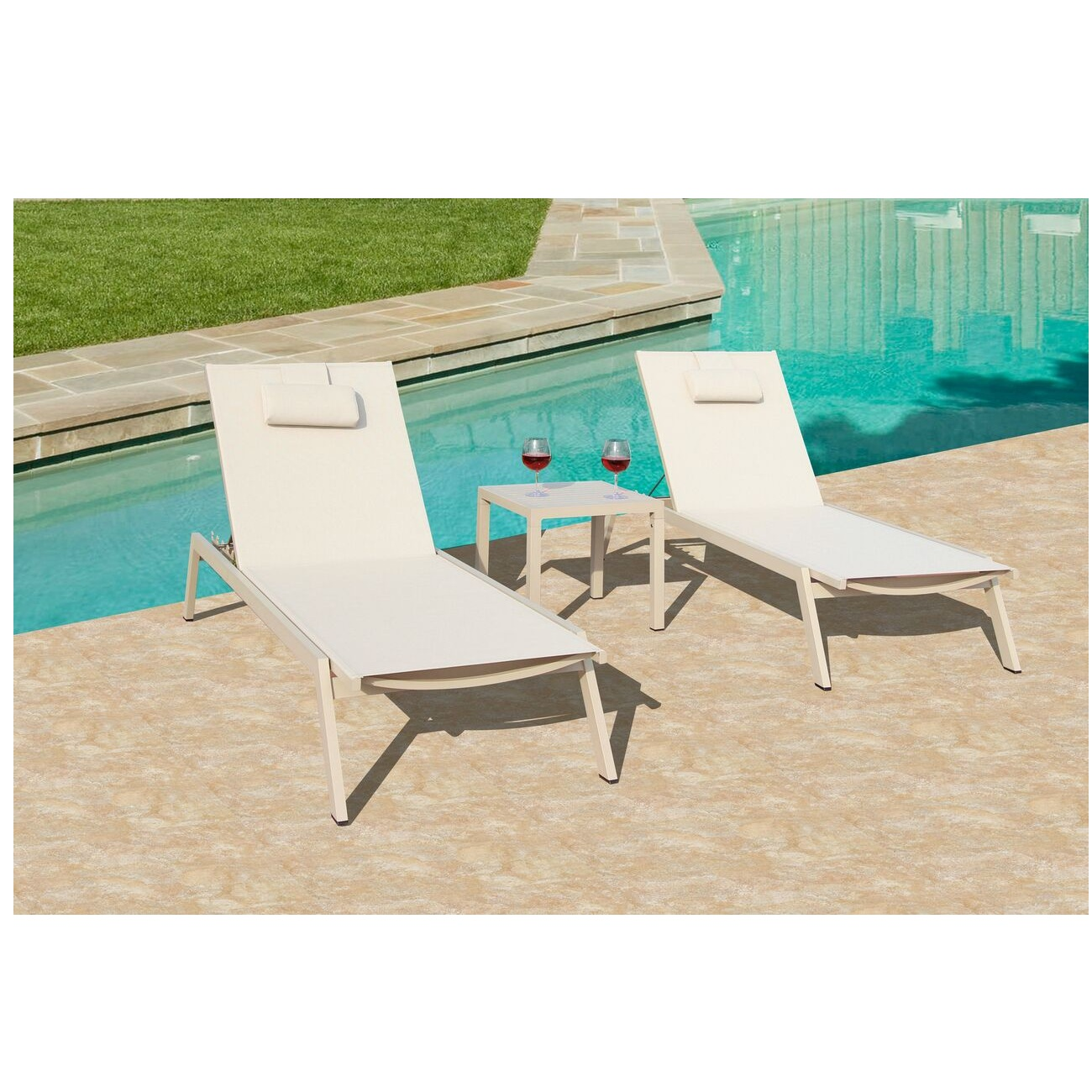 3 Piece Carina Outdoor Patio Dining Set Powder Coated Aluminum Almond Frame Finish 77.5""