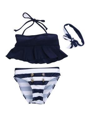 163d1dacafca Product Image Kids Baby Girls Striped Tankini Swimsuit Swimwear Bathing Suit  Swimming Clothes Headband