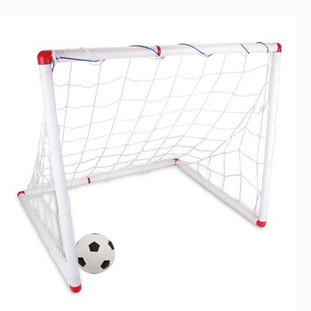 DIY Youth Sports Toy Soccer Goals with Soccer Ball and Pump Practice Scrimmage Game - White