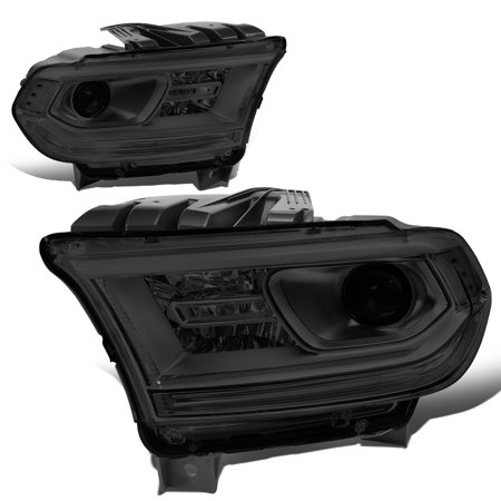 For 2014 to 2019 Dodge Durango Pair Factory Style Projector Headlight Lamp w/ LED Side Marker Light Smoked Housing Clear Corner 15 16 17 18