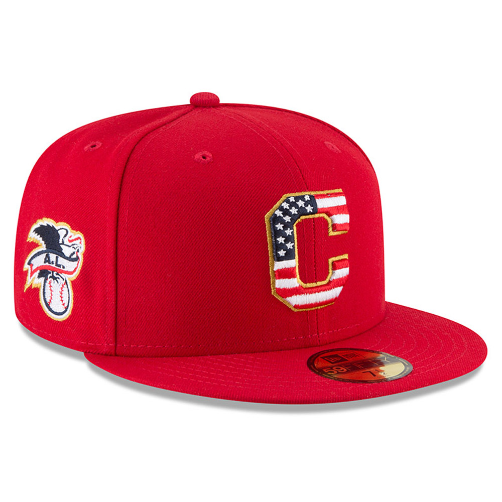Cleveland Indians New Era 2018 Stars & Stripes 4th of July On-Field 59FIFTY Fitted Hat - Red