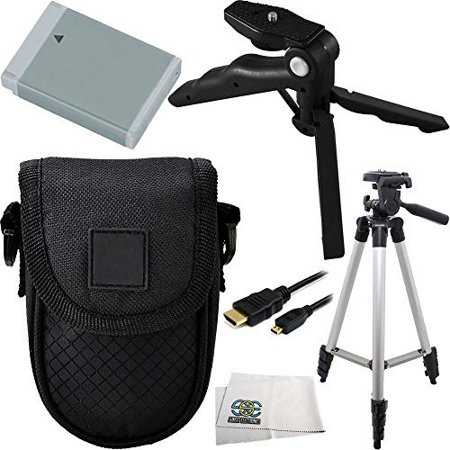 Essential Accessory Kit for Canon Powershot G5 X, G7 X & G9 X Includes Replacement NB-13L Battery + Full Size Tripod + Pistol Grip/Table Top Tripod + Micro HDMI Cable + Carrying Case +