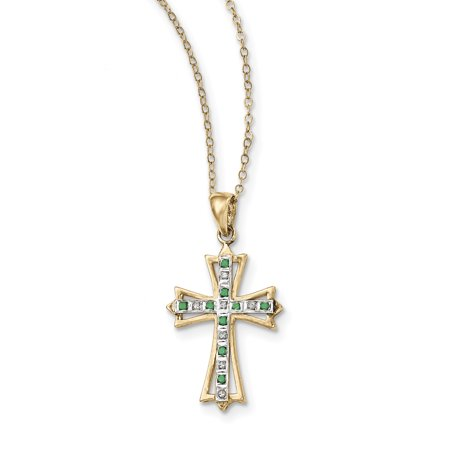 925 Sterling Silver Diamond Mystique Gold Plated Dia/emerald 18 Inch Cro925 Chain Necklace Pendant Charm Cross Crucifix Gifts For Women For Her
