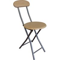 Storage Solutions Wooden Folding Stool with Back Rest with Powder Coated Steel Tube Legs