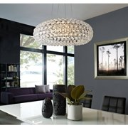 "Modway Halo 25"" Acrylic Crystal Hanging Chandelier in Clear"