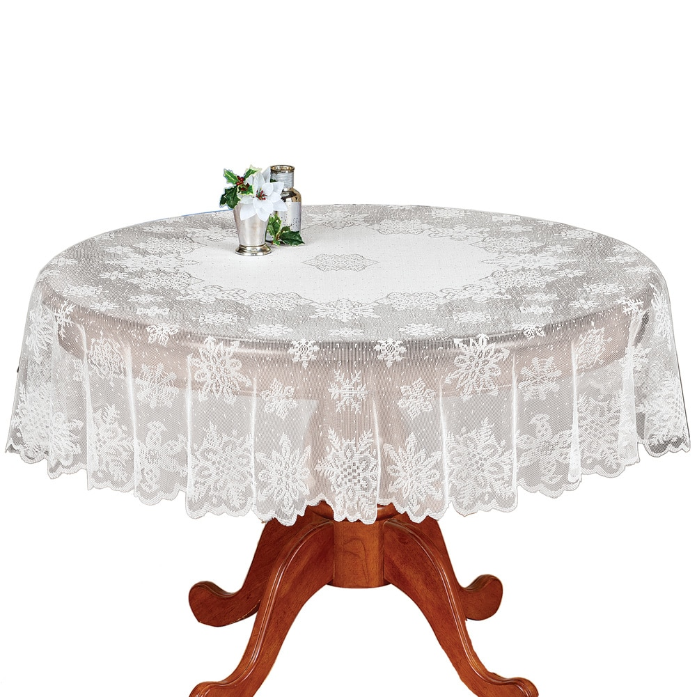 Snowflake Christmas Lace Tablecloth, Round