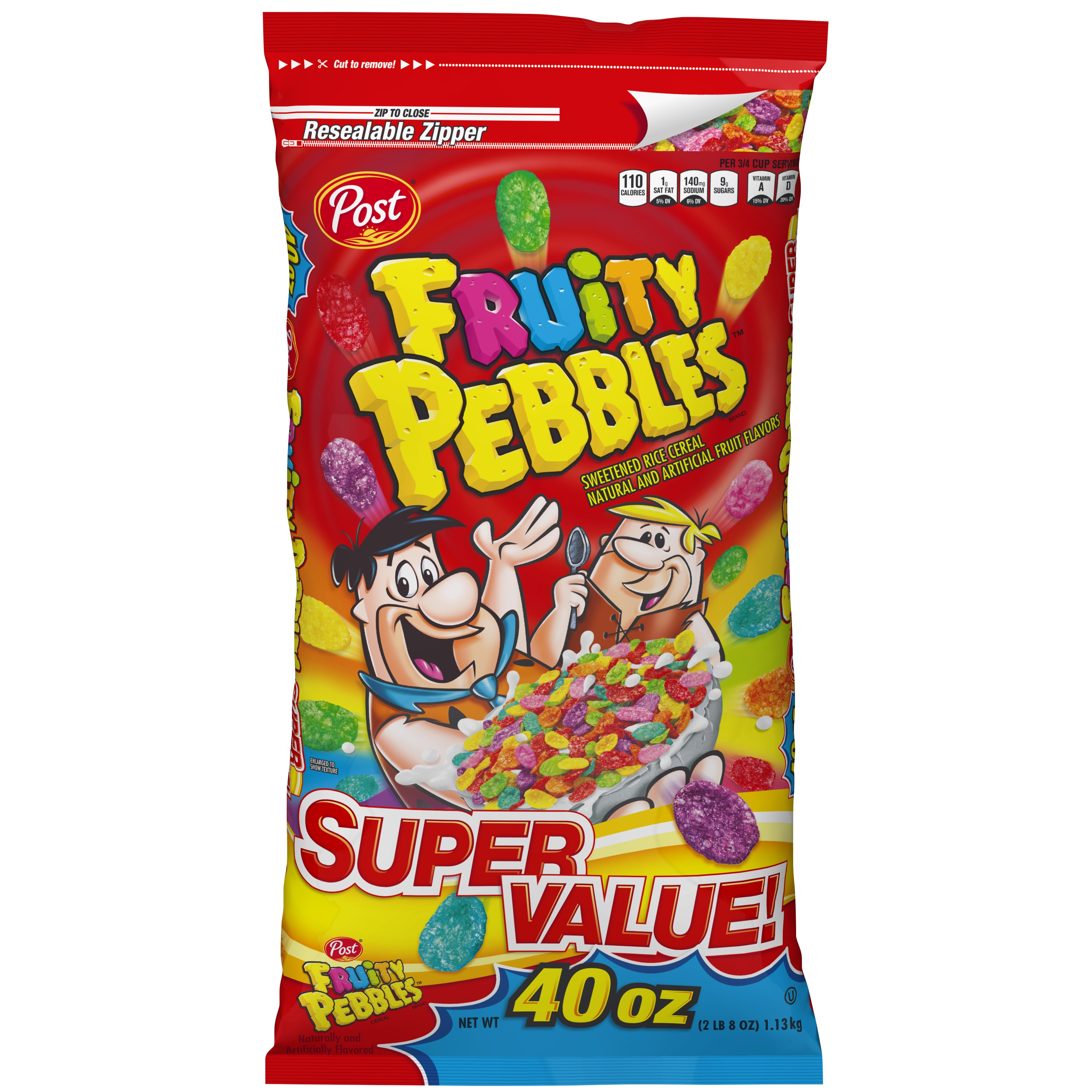 Post Fruity Pebbles Gluten Free Breakfast Cereal, 40 Oz