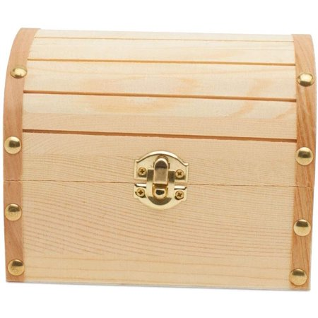 "Unfinished Wooden Treasure Chest Box Crafts for Party 6"" x 4-1/2"" Pack Of 12 by Woodpeckers Turquoise Treasure Chest"