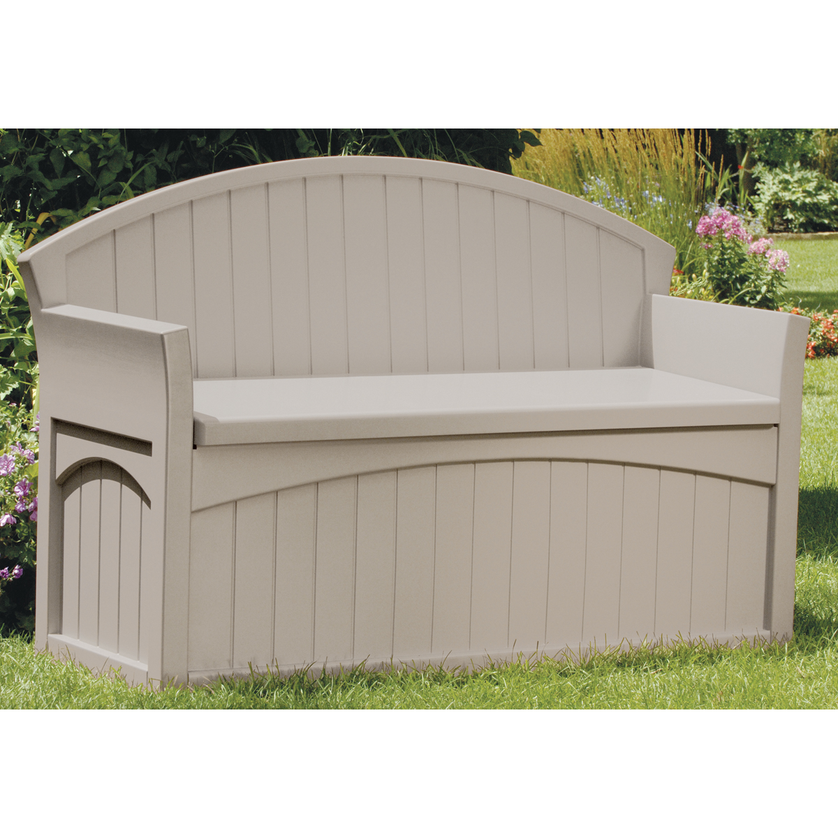 "Suncast PB6700 34.5"" H X 54.75"" W X 21"" D Light Taupe Storage Patio Bench"