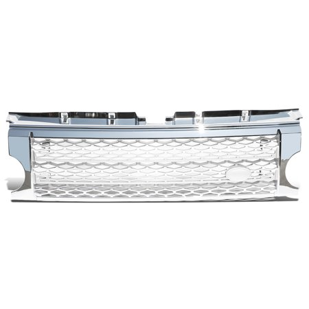 For 2005 to 2009 Land Rover ABS Plastic Silver Mesh Chrome Front Bumper Grille - Discovery III LR3 06 07