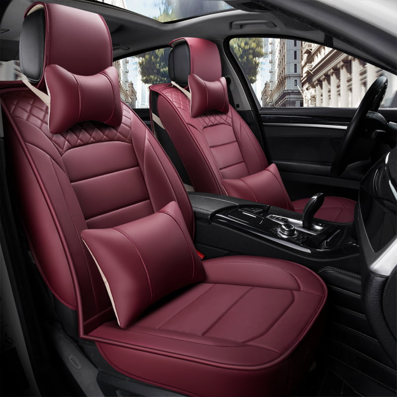 Car SUV Seat Cover 5-seat Cushion Front+Rear PU Leather Universal For Size S//M//L
