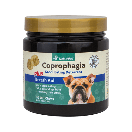NaturVet Stool Eating deterrent Coprophagia with Breath Freshener for Dogs, 130 Tasty Soft Chews