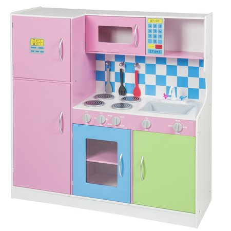 Best Choice Products Wooden Pretend Kitchen Playset w/ Refrigerator for  Children and Toddlers - Pink