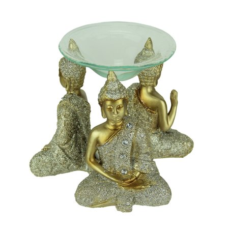 Metallic Gold Finsh Sparkly Triple Buddha Tealight Oil - Sparkly Candles