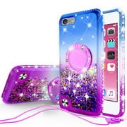 Apple iPod Touch 6/Touch 5 Case, Girls Women Bling Liquid Glitter Phone Case Ring Kickstand Shock Proof Floating Quicksand Protective Cover for iPod Touch 6th/Touch 5th Gen - Purple Gradient
