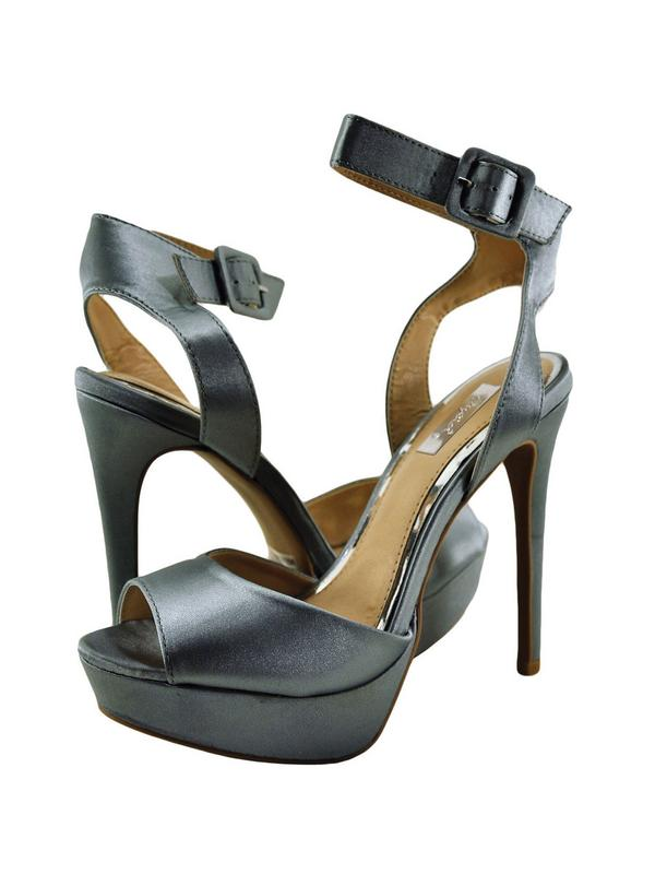 Qupid Avalon 187 Womens Shoes Peep Toe Ankle Strap Heel Pewter Satin