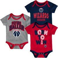 Washington Wizards Newborn Little Fan Three-Pack Bodysuit Set - Red/Navy/Heathered Gray