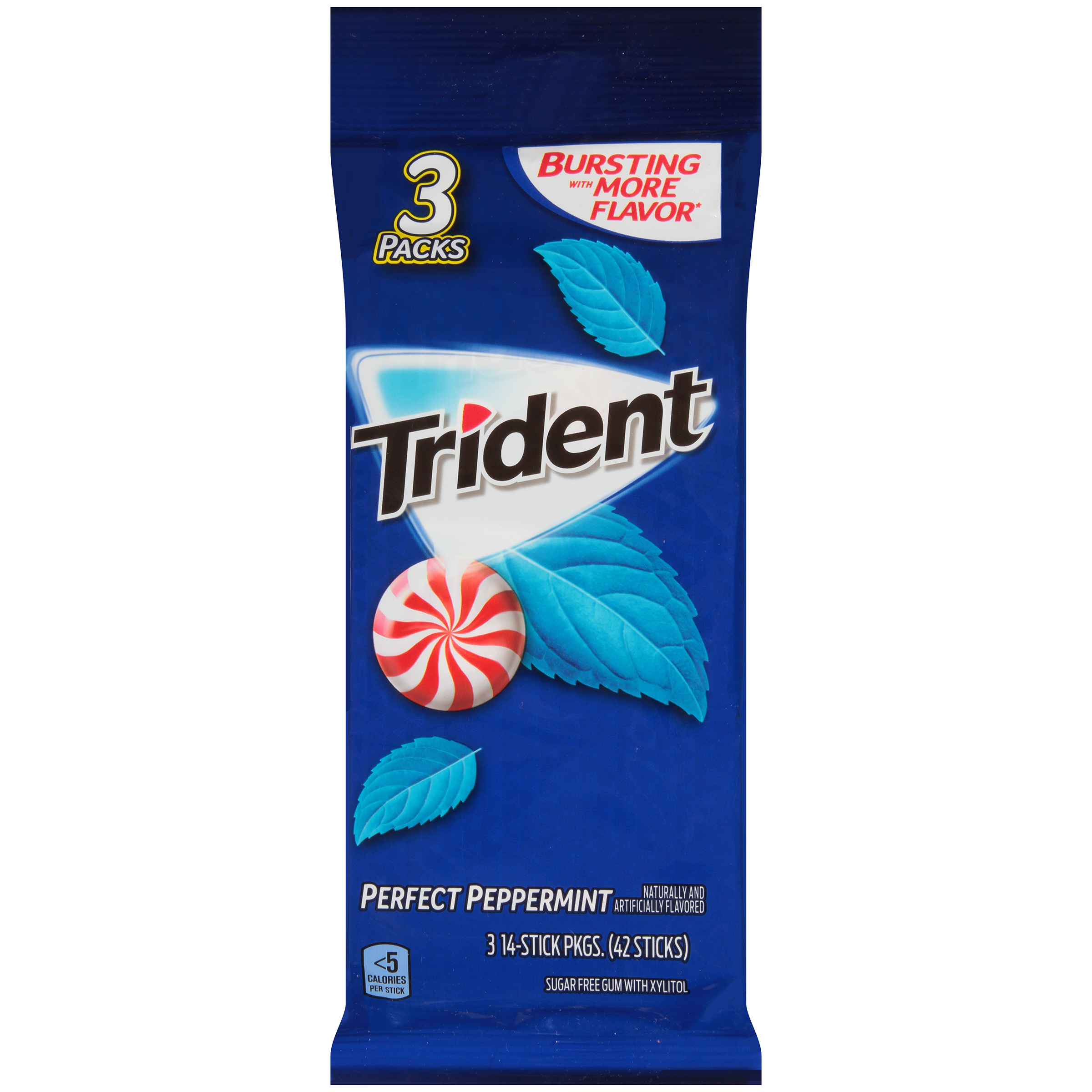 Trident Sugar-Free Perfect Peppermint Flavor Gum, 14 Pieces, 3 Count