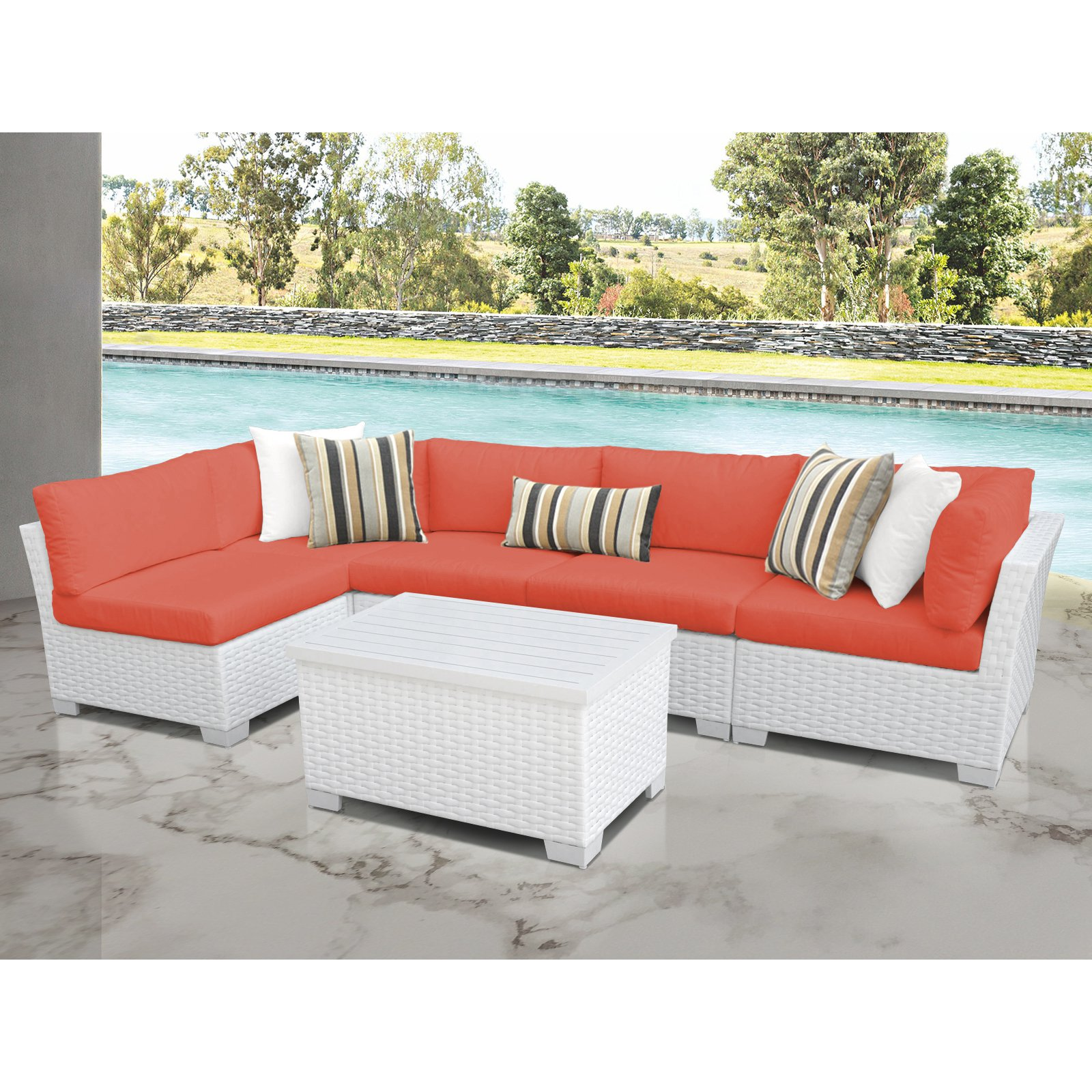 TK Classics Monaco 6-Piece Outdoor Wicker Patio Conversation Set
