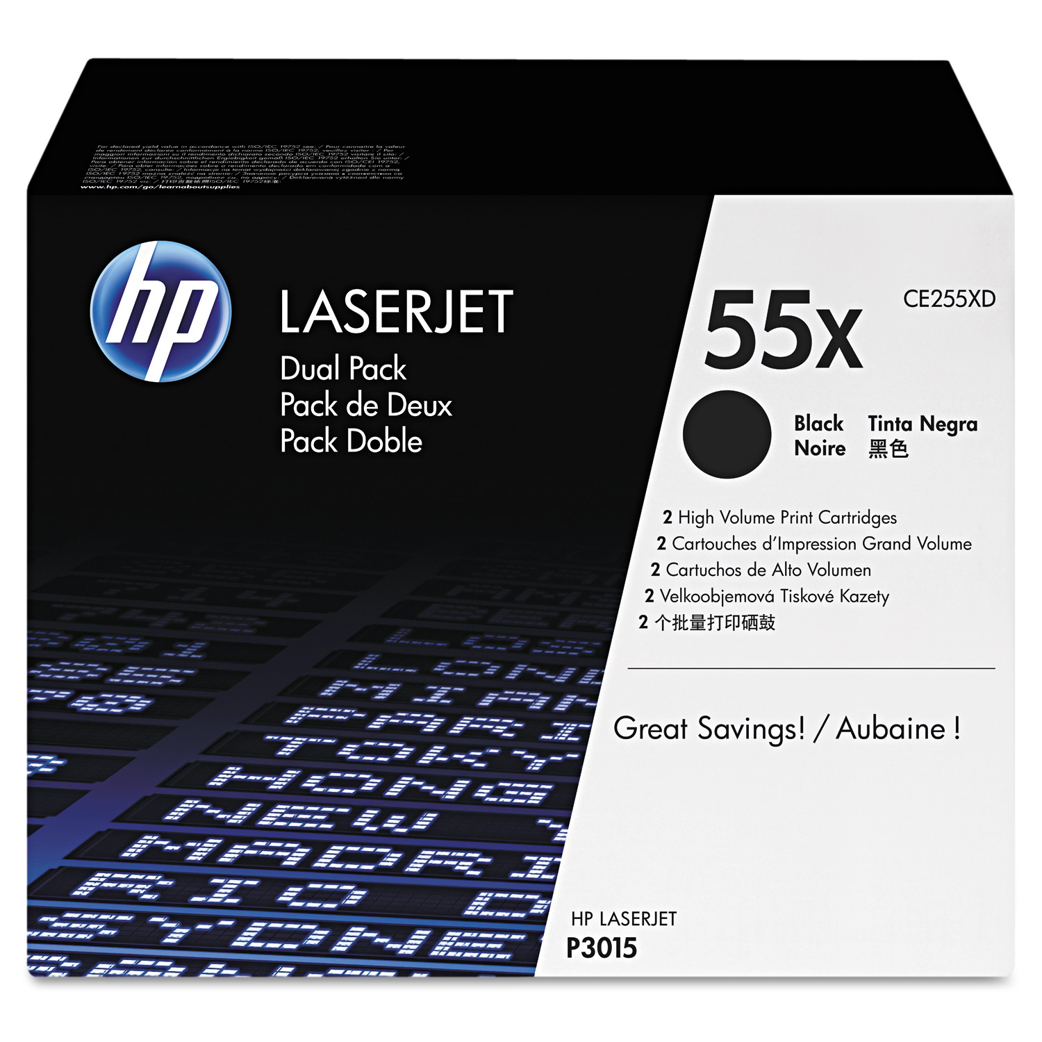 HP 55X, (CE255X-D) 2-pack High Yield Black Original LaserJet Toner Cartridges -HEWCE255XD