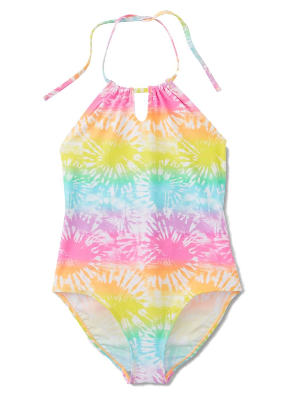 Joe Boxer Girls 1 Piece Pink & Yellow Tie Dye Bathing & Swimming Suit
