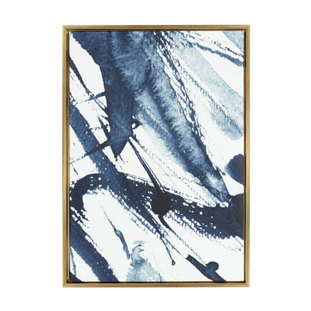 Kate and Laurel Sylvie Indigo Watercolor Abstract Print Framed Canvas Wall Art by Amy Peterson, 23x33 Gold
