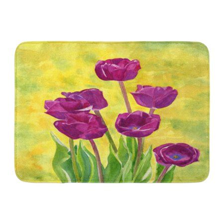 GODPOK Purple Tulips with Watercolor Painting of Red Violet Colored with Bright Gold Yellow and Blue Green Rug Doormat Bath Mat 23.6x15.7 inch ()