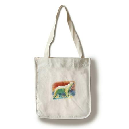 Polar Bear - Watercolor - Lantern Press Artwork (100% Cotton Tote Bag - Reusable)