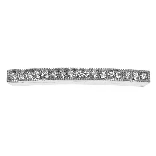 Beadelle Crystal 50mm Curved Pave Bead Bar Silver Plated / Crystal  (1 Piece)
