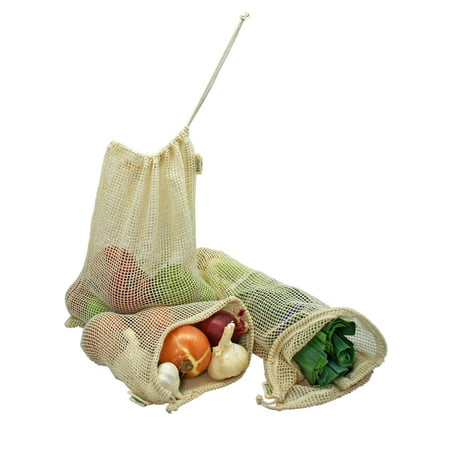 Cute Reusable Grocery Bags (Simple Ecology Reusable Organic Cotton Mesh Grocery Shopping Produce Bags - Set of 6 (2 ea. L, M, S) (heavy duty, washable, produce saver bags, food storage, bulk bin, tare)