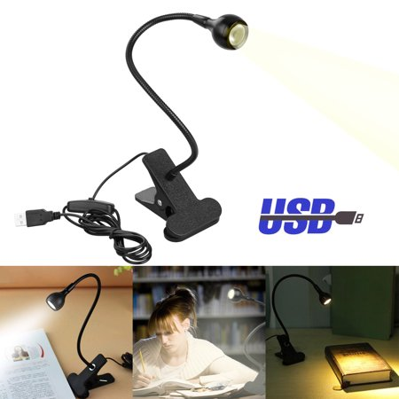 EEEKit Rechargeable LED Book Reading Light, Music Light Stand, Easy Clip Lights Bed, Eye Protection Brightness Spotlight, Table LED Clip on Light for Night Reading, Kindle, Perfect for Bookworms &