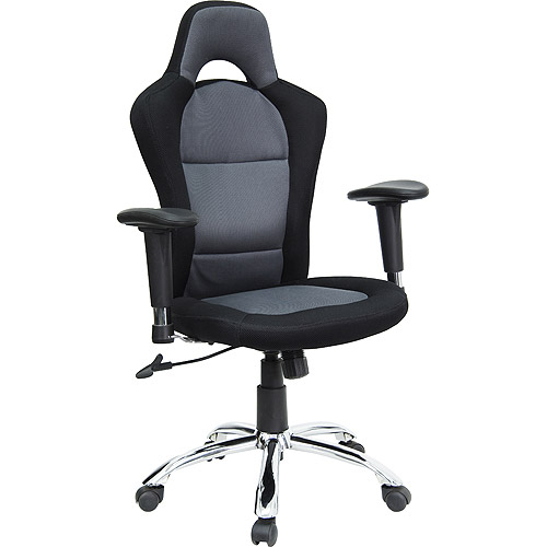 race car style bucket seat office chair with arms, black and gray
