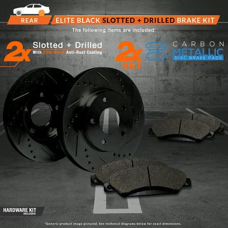 Max Brakes Rear Elite Brake Kit [ E-Coated Slotted Drilled Rotors + Metallic Pads ] TA020782 | Fits: 2002 02 Volvo V70 w/ Rear Solid Rotors - image 2 de 8