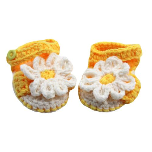 Baby Girls Yellow White Daisy Flower Crochet Sandals 0-12M