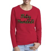 Awkward Styles Xmas Plaid Feliz Navidad Ugly Christmas Sweater Long Sleeve T-shirt For Women