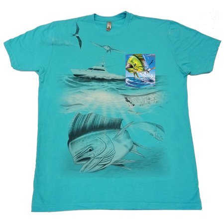 Offshore Deep Sea Mahi Ocean Fish Fishing Yacht Soft T Shirt Tee Printed Pocket Unisex Mens   Blue