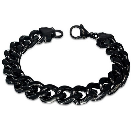 Stainless Steel Black Mens Classic Cuban Link Chain Bracelet with Clasp