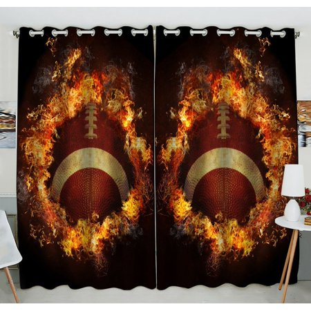 GCKG Flaming American Football Window Curtain Kitchen Curtain Window Drapes Panel for Living Room Bedroom Size 52(W) x 84(H) inches (Two - Football Curtains