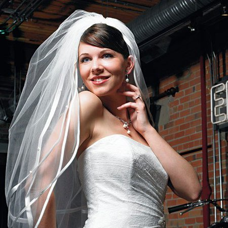 - Weddingstar 8229 Double Border of Satin Ribbon & Pearl Veil - Ivory